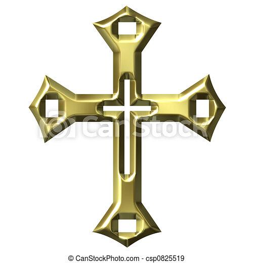 3D Golden Artistic Cross - csp0825519