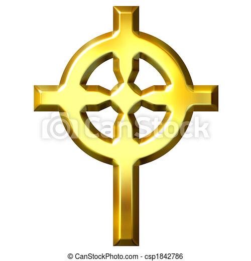 3D Golden Celtic Cross - csp1842786