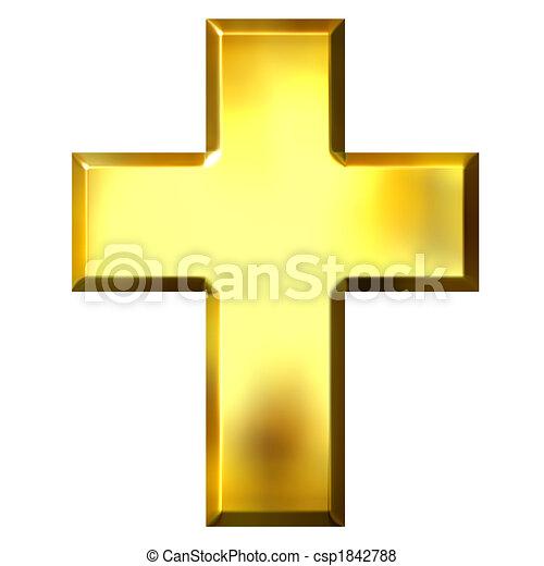 3D Golden Cross - csp1842788