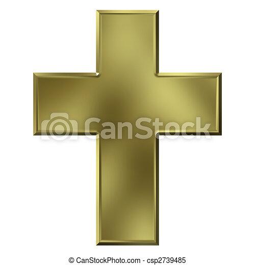 3D Golden Cross - csp2739485