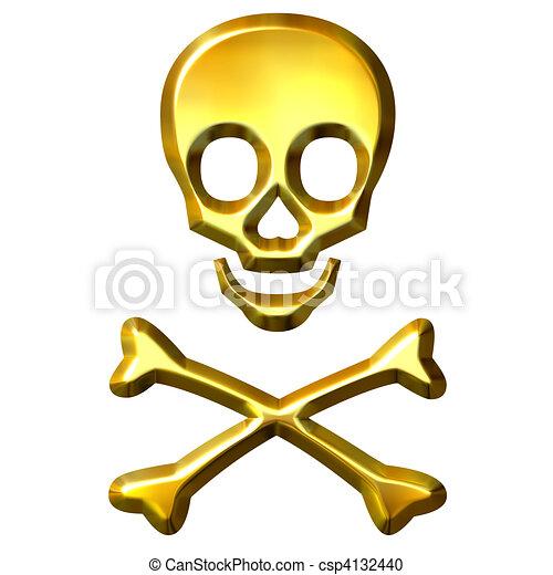 3D Golden Crossbones - csp4132440