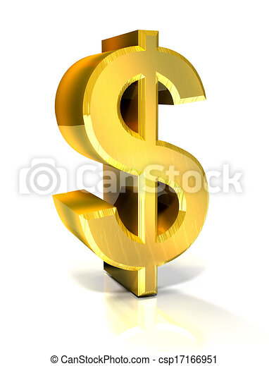 3d golden dollar symbol  - csp17166951