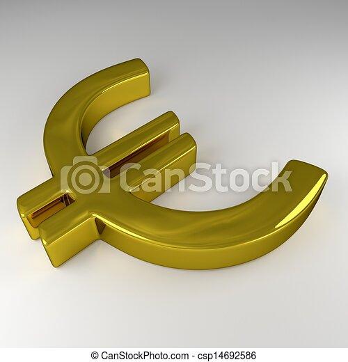 3D Golden Euro Sign - csp14692586