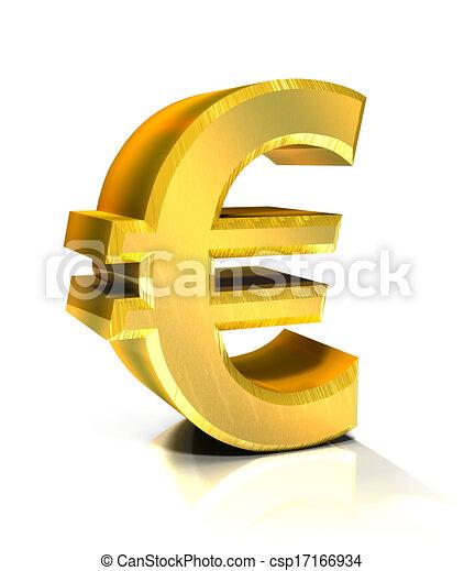 3d golden euro symbol  - csp17166934