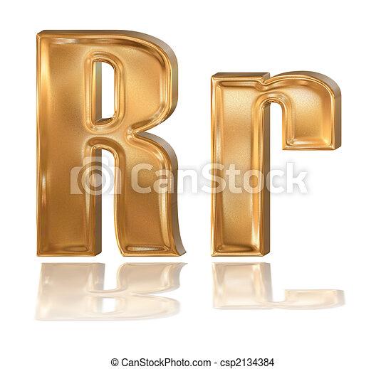 3d Golden Font Letter R