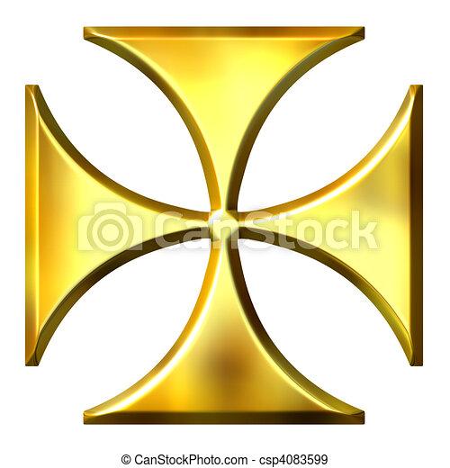 3D Golden German Cross - csp4083599