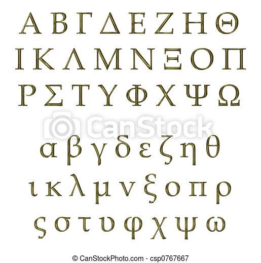3D Golden Greek Alphabet - csp0767667