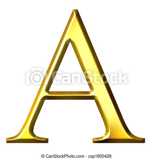3D Golden Greek Letter Alpha - csp1800426
