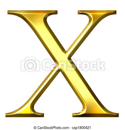 3D Golden Greek Letter Chi - csp1800421