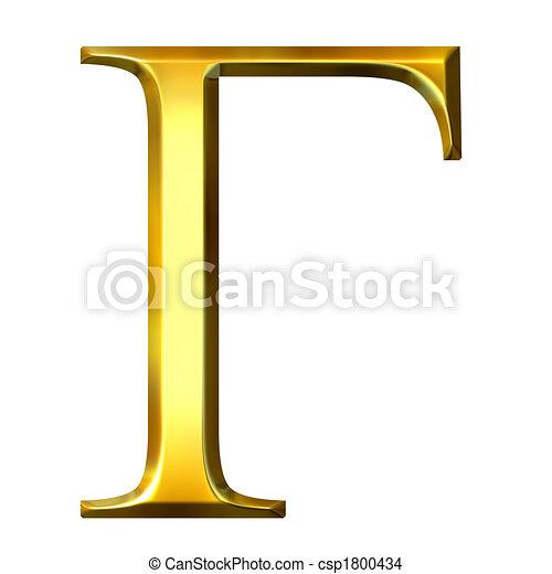 3D Golden Greek Letter Gamma - csp1800434