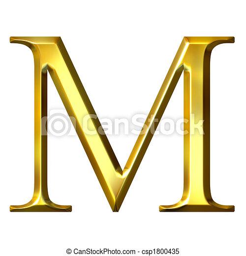 3D Golden Greek Letter My