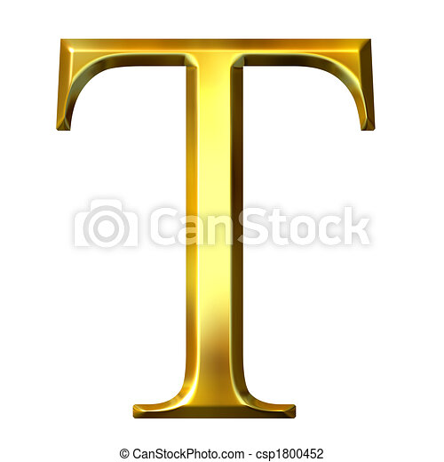 3d Golden Greek Letter Tau 3d Golden Greek Letter Tau Isolated In