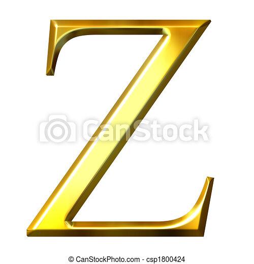 3D Golden Greek Letter Zeta - csp1800424