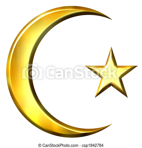 3d Golden Islamic Symbol 3d Golden Islamic Symbol Isolated In White