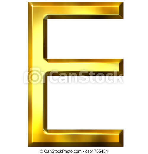 3D Golden Letter E - csp1755454