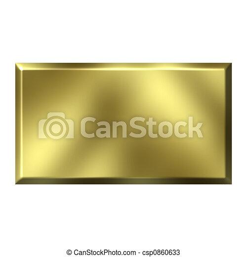 3D Golden Square Button - csp0860633