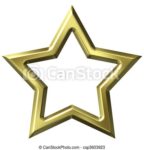 3d golden star frame. 3d golden star frame isolated in white.