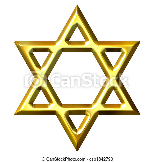 3D Golden Star of David - csp1842790
