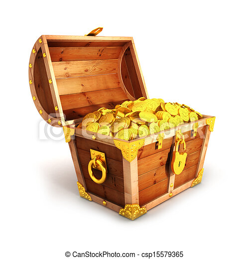 3d golden treasure chest - csp15579365