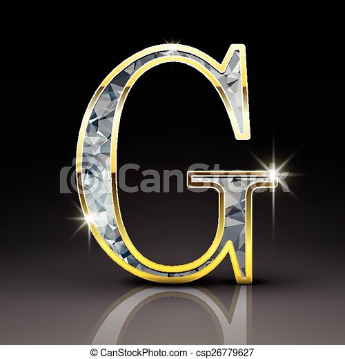 3d gorgeous diamond letter g isolated on black background.