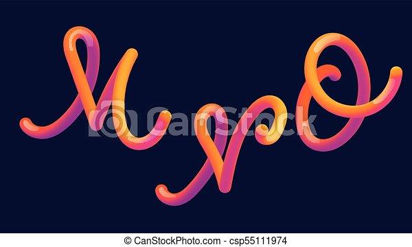 3d gradient lettering font set with letter m n o vibrant gradient shape liquid color path typography vector illustration bubble font with glint