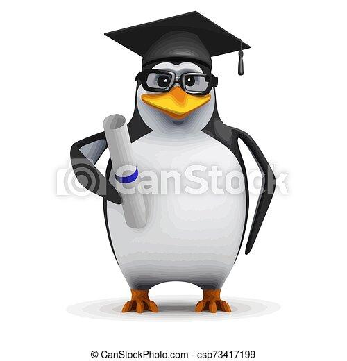 3d Graduating penguin - csp73417199