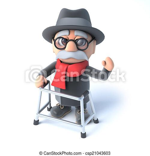3d Grandpa with his walking frame waving hello - csp21043603