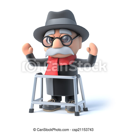 3d grandpa with walking frame waves his arms in the air. 3d render ...