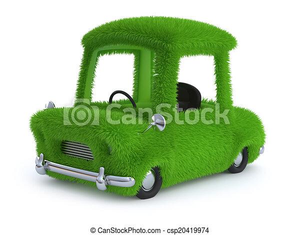3d Grass covered car - csp20419974