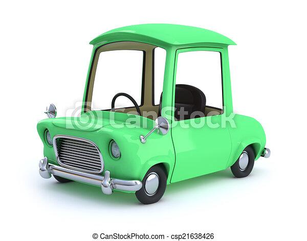 3d Green cartoon car - csp21638426