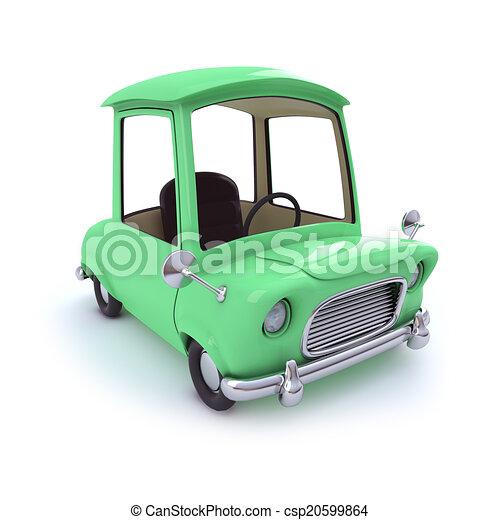 3d Green cartoon car - csp20599864