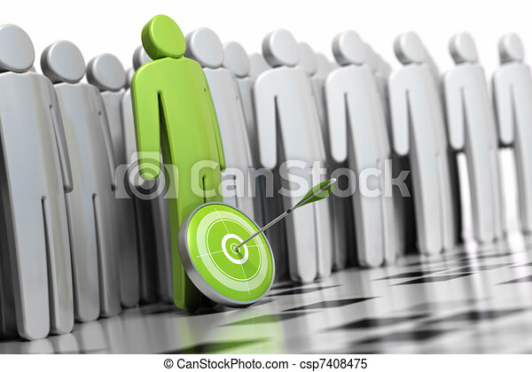 3d green character with a dart in front of his legs with an arrow hitting the center. there is many other grey character at the backside they are blurred - csp7408475