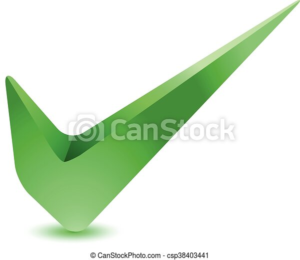 3d Green Check Mark Tick Icon Illustration