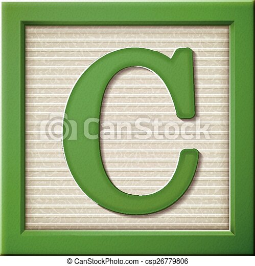 Close up look at 3d green letter block c