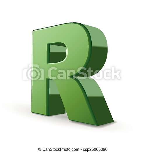 3d green letter r isolated on white background 3d green letter r csp25065890 thecheapjerseys Image collections