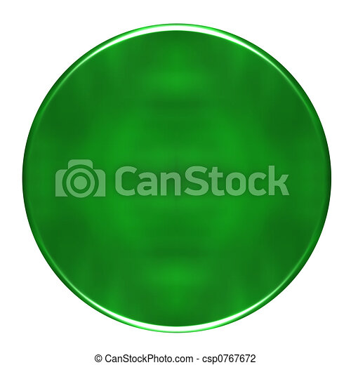 3D green round button - csp0767672