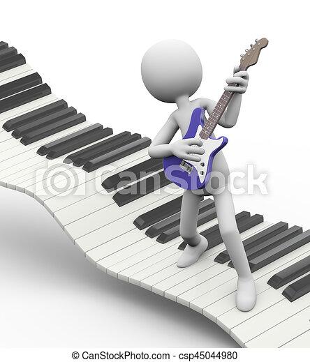 Guitarra eléctrica en el teclado - csp45044980