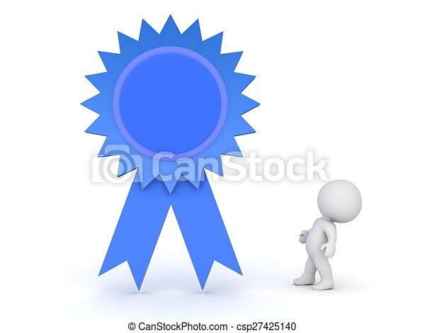 3D Guy looking up at blue ribbon - csp27425140