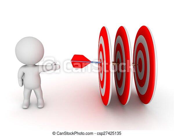 3D Guy Showing Dart hitting targets - csp27425135
