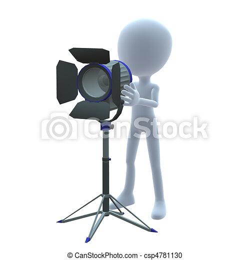 3D Guy Wtih Movie Lighting - csp4781130
