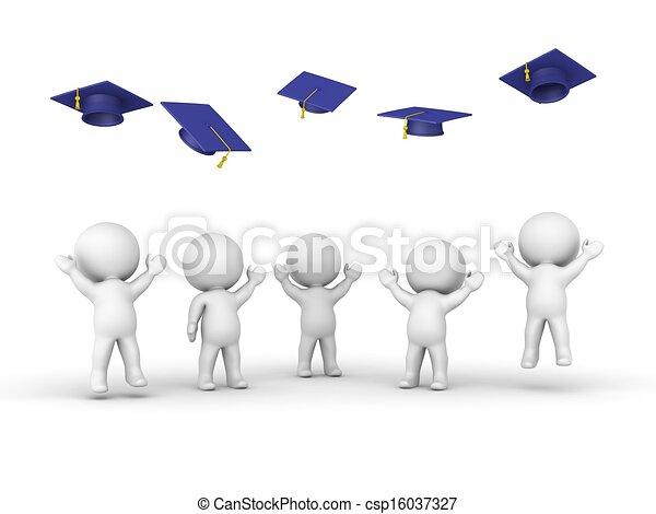 3D guys throwing graduation hats - csp16037327