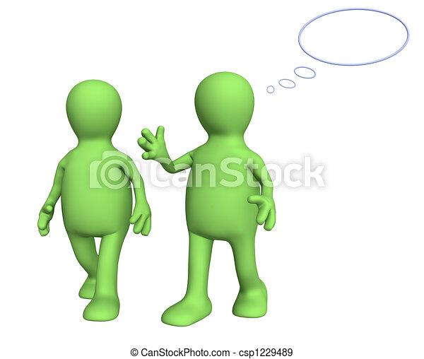 3d, hablar, títeres, dos, caminata - csp1229489