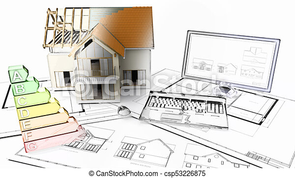 3D half built house on plans with half in sketch phase - csp53226875