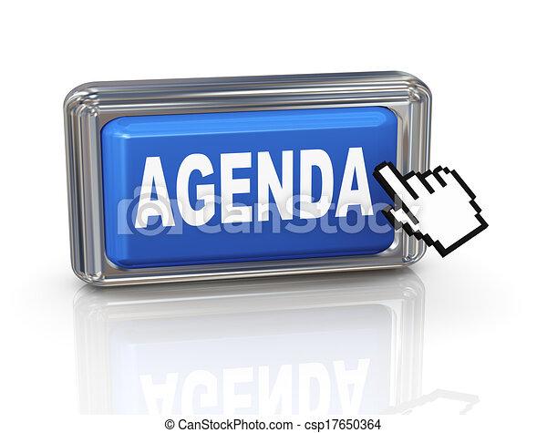 3d hand cursor button - agenda - csp17650364