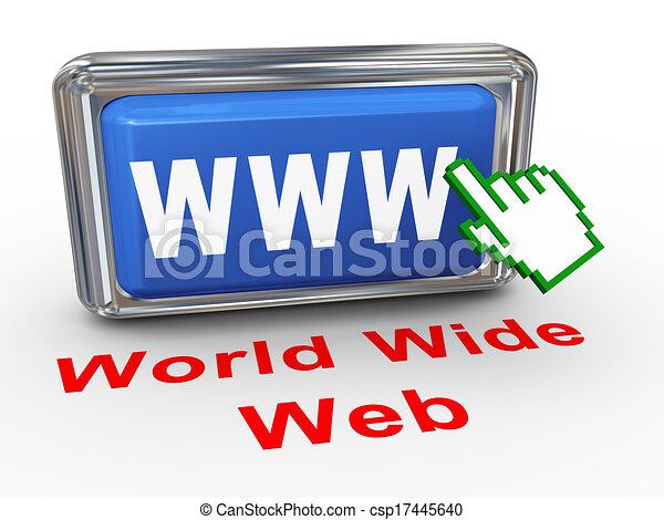 3d hand cursor www button  - csp17445640