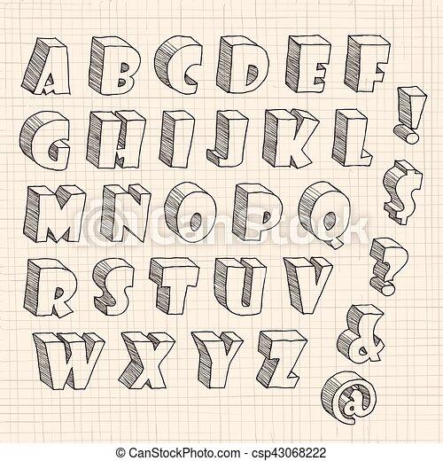lettre en 3d 3d hand drawn uppercase letters and notations on the paper. lettre en 3d
