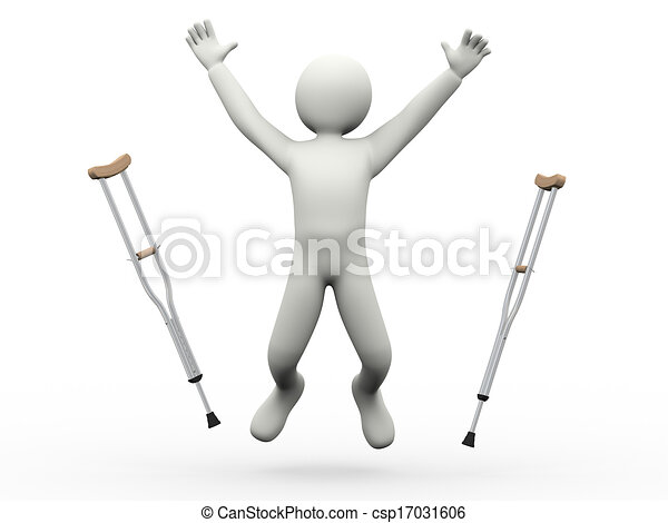 3d happy man jumping throwing crutches - csp17031606