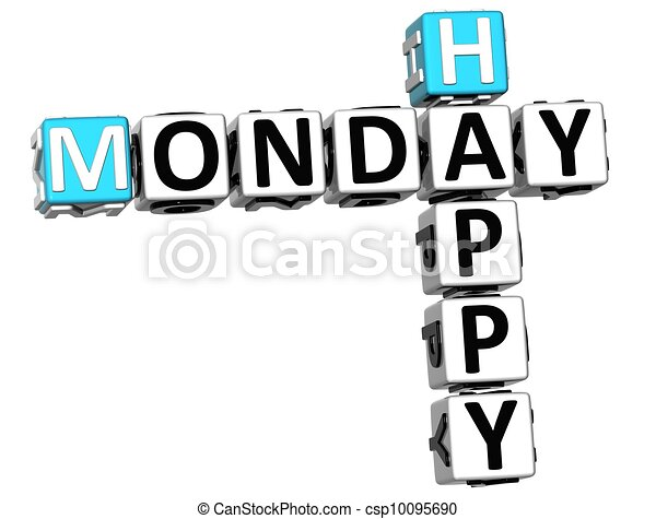 3d happy monday crossword on white background stock illustration rh canstockphoto com happy monday clip art free happy monday clip art images