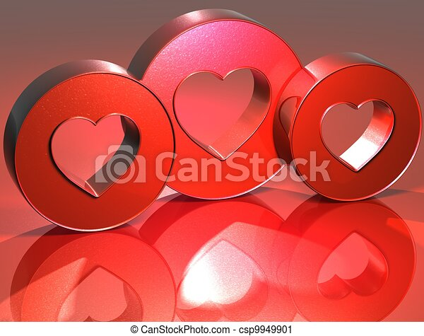 3D Heart Red Sign - csp9949901