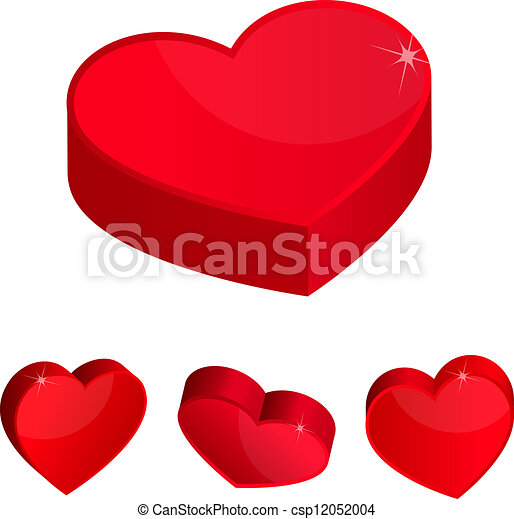 3d hearts red hearts 3d simple icons vector illustration vector rh canstockphoto com heart tattoo vector hearts vector free download